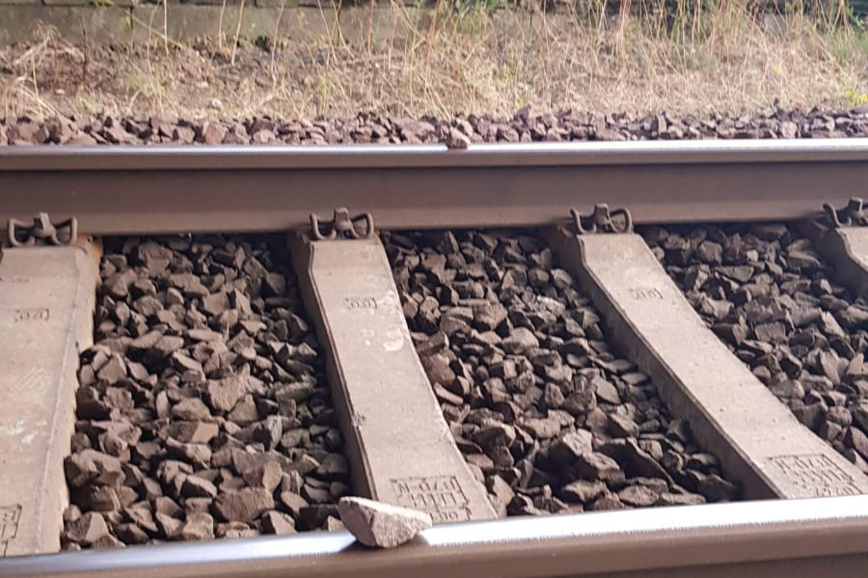 Kinder legen Steine auf Gleis